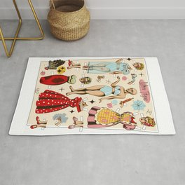 Paper doll dress up game tattoo flash Rug
