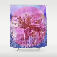 palm trees Shower Curtains featuring Palm trees by Lara Gurney