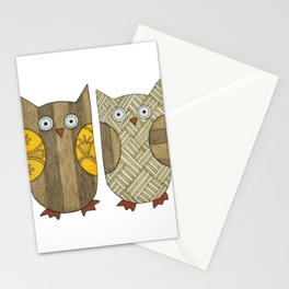4 Gold Owls Stationery Cards