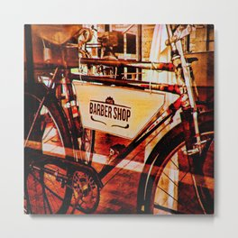 Barber shop vintage photograph of an antique bicycle Metal Print