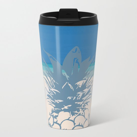 Pineapple Tropical Beach Design Metal Travel Mug