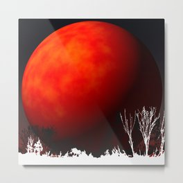 Blood Orange Moon Metal Print