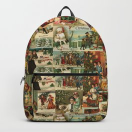 Vintage Victorian Christmas Collage Backpack