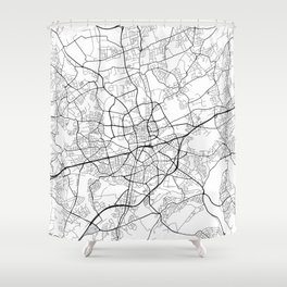 Essen Map, Germany - Black and White Shower Curtain