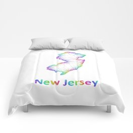 Rainbow New Jersey map Comforters