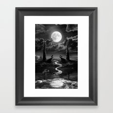 XVIII. The Moon Tarot Card Illustration Framed Art Print