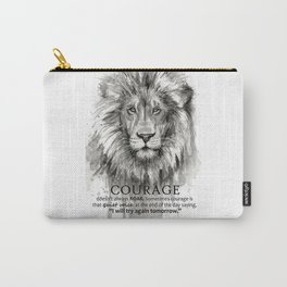 Lion Courage Motivational Quote Watercolor Painting Carry-All Pouch