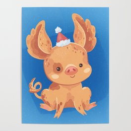 Festive Pig in a New Year's Cap Poster