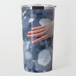 Woman hand on Baikal ice texture. Travel Mug