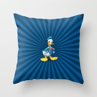 donald duck Throw Pillows featuring Donald - The Duck by applerture