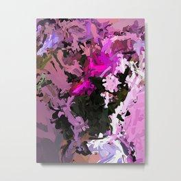 Pink Flowers AbEx 1 Metal Print