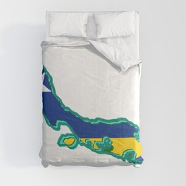 Curacao Map with Flag Comforters