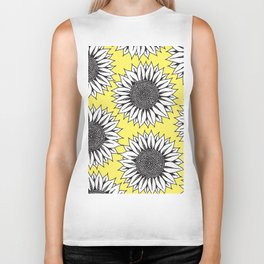 Yellow Sunflower in Black and White Hand Drawing Biker Tank