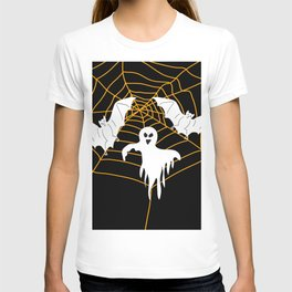 Bats and Ghost white - black color T-shirt