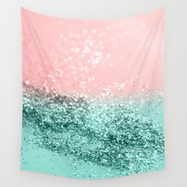 Summer Vibes Glitter #4 #coral #mint #shiny #decor #art #society6 Wall Tapestry