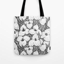 Puya Flowers Floral Pattern Greyscale Tote Bag