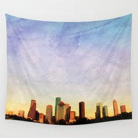 houston Wall Tapestries featuring Houston Skyline by Tracy Carlson Photography