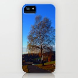Tree, road and indian summer evening | landscape photography iPhone Case