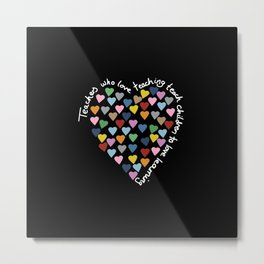 Hearts Heart Teacher Black Metal Print