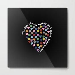Hearts Heart Teacher Black Metal Print