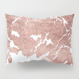 Stylish white rose gold modern marble Pillow Sham