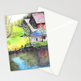Red Barn On Lake Stationery Cards