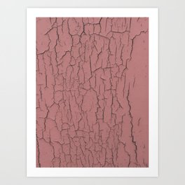 Pink cracked wall paint abstract art wall decor Art Print