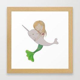 Mermaid and Narwhal Friends Framed Art Print