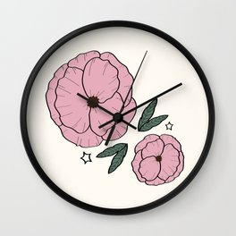 pink poppies Wall Clock
