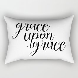 Grace Upon Grace, Bible Verse, Christian Quote, Scripture Print, Printable Verse, Typography Print Rectangular Pillow