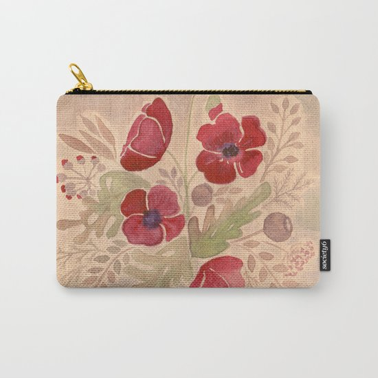 Watercolor poppies on old paper . Carry-All Pouch