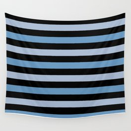 Stripes (Parallel Lines) - Blue Black Wall Tapestry