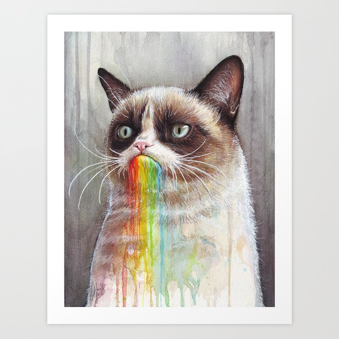 Cat Tastes the Grumpy Rainbow   Watercolor Painting Art Print