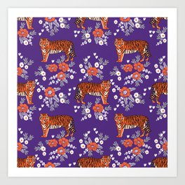 Tiger Clemson purple and orange florals university fan variety college football Art Print