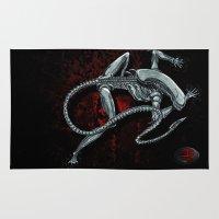 xenomorph Area & Throw Rugs featuring Darrell Merrill Nerd Artist Xenomorph by Nerd Artist DM