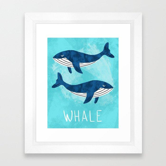 Modern nursery whales Framed Art Print