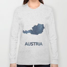 Austria map outline Dark blue clouded watercolor Long Sleeve T-shirt