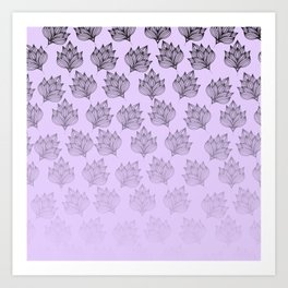 Abstract hand painted black lavender ombre floral Art Print