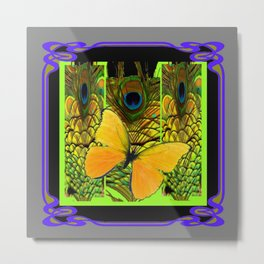GREY-PURPLE ART NOUVEAU PEACOCK BUTTERFLY Metal Print