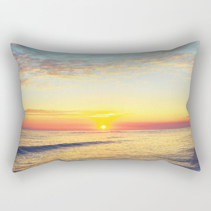 Summer Sunset Ocean Beach - Nature Photography Rectangular Pillow