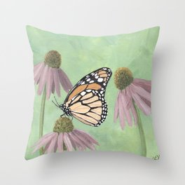Monarch Butterfly Art, Orange Butterfly Painting Throw Pillow