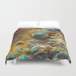 Bubbly Turquoise with Rusty Dust Duvet Cover
