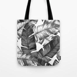 Black And White Tropical Banana Leaves Pattern Tote Bag