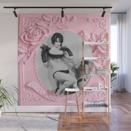 Femme Fatale - Pin Up - Pastel Pink Frame - Roses  Wall Mural