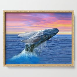 Breaching Humpback Whale at Sunset Serving Tray