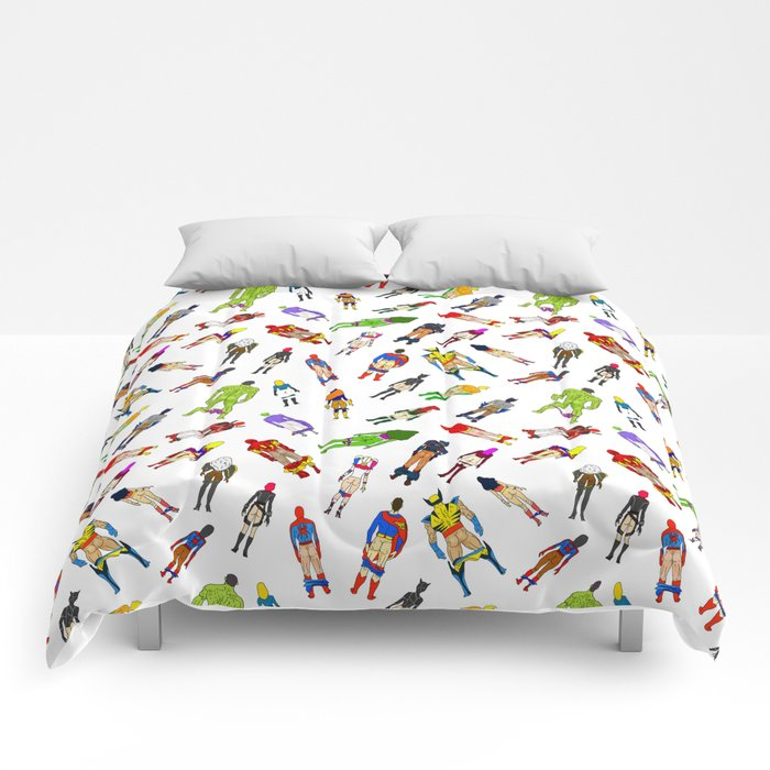 Superhero Butts with Villians - Light Pattern Comforters