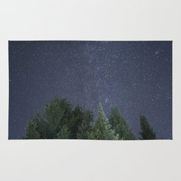 Pine trees with the northern michigan night sky Rug
