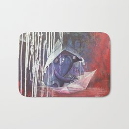 blue french bulldog in a paperboat Bath Mat