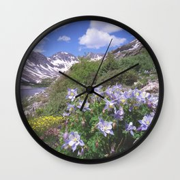 Columbine above Blue Lake near Breckenridge,Colorado Wall Clock