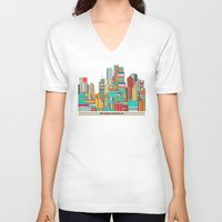 minneapolis V-neck T-shirts featuring Minneapolis city  by bri.buckley